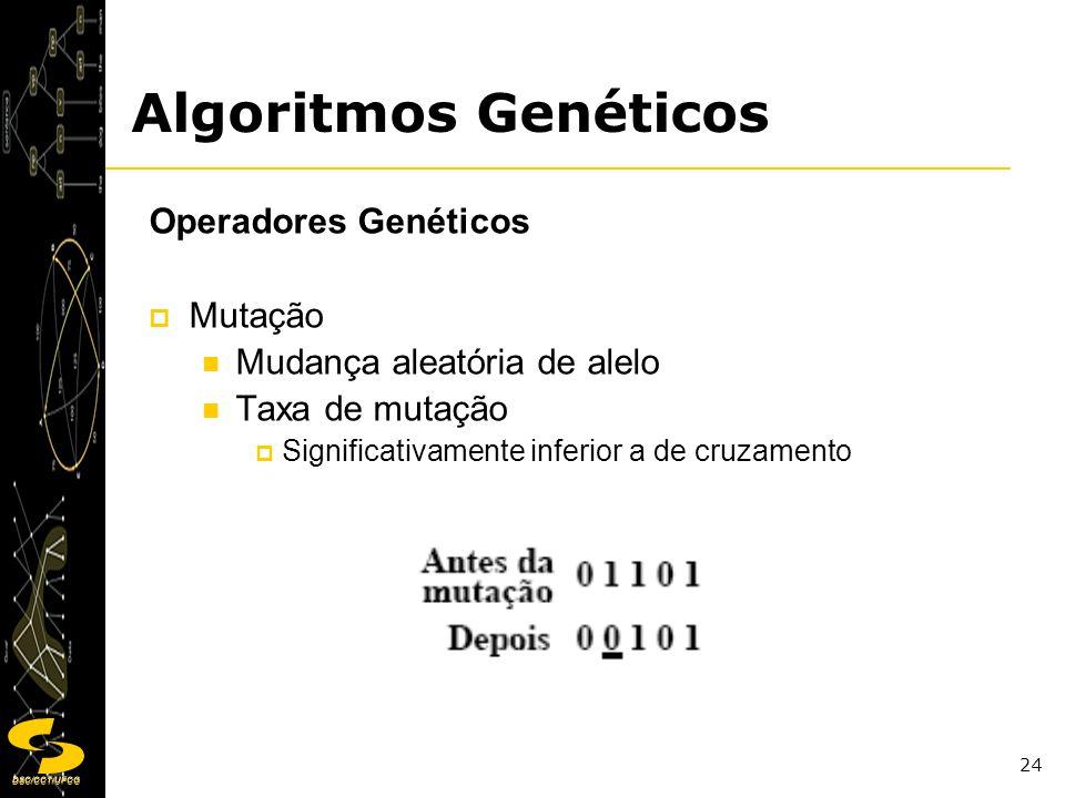 DSC/CCT/UFCG 24 Operadores Genéticos Mutação Mudança aleatória de alelo Taxa de mutação Significativamente inferior a de cruzamento Algoritmos Genétic
