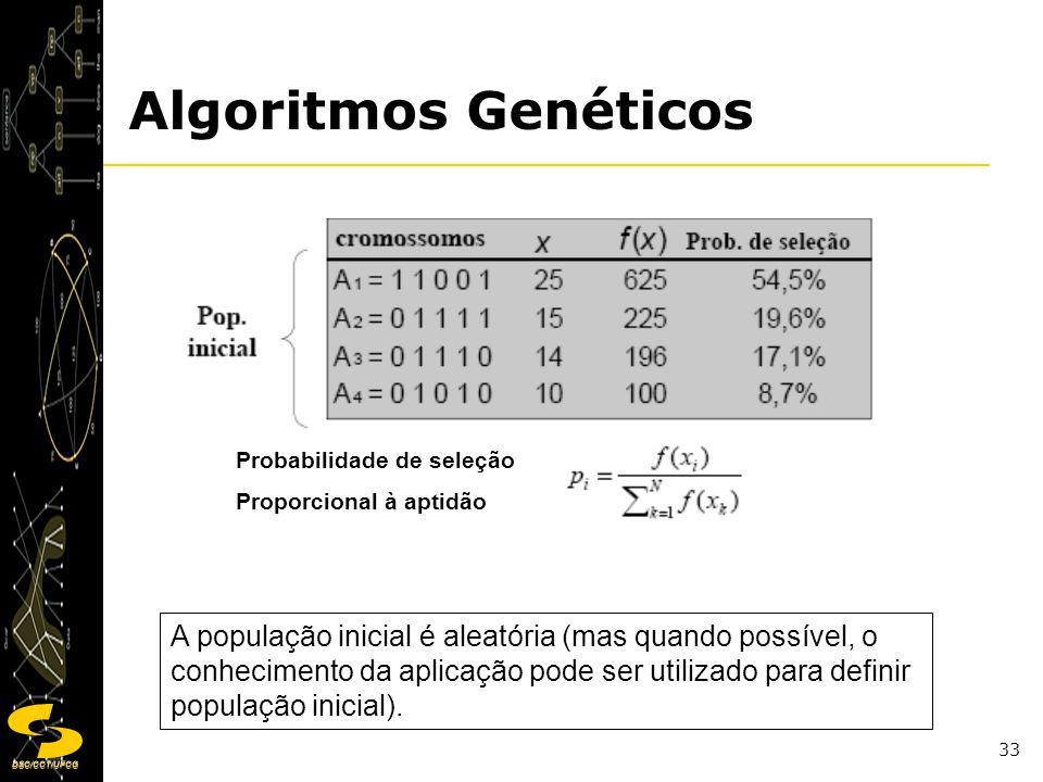DSC/CCT/UFCG 33 A população inicial é aleatória (mas quando possível, o conhecimento da aplicação pode ser utilizado para definir população inicial).
