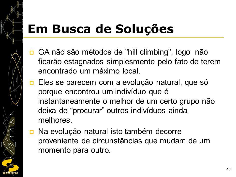 DSC/CCT/UFCG 42 Em Busca de Soluções GA não são métodos de