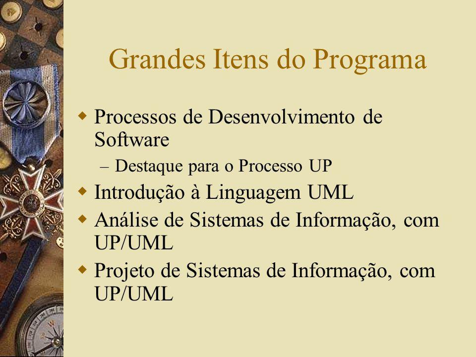 Grandes Itens do Programa Processos de Desenvolvimento de Software – Destaque para o Processo UP Introdução à Linguagem UML Análise de Sistemas de Informação, com UP/UML Projeto de Sistemas de Informação, com UP/UML