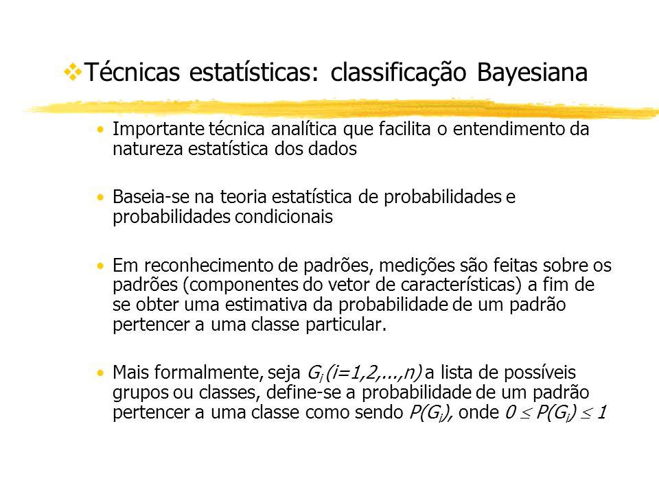 vTécnicas estatísticas: classificação Bayesiana Importante técnica analítica que facilita o entendimento da natureza estatística dos dados Baseia-se n