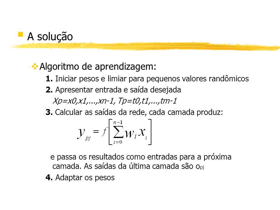 § A solução vAlgoritmo de aprendizagem: 1. Iniciar pesos e limiar para pequenos valores randômicos 2. Apresentar entrada e saída desejada Xp=x0,x1,...