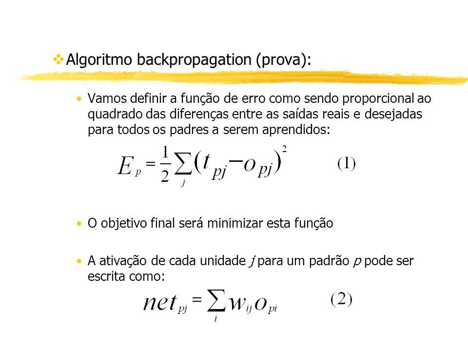vAlgoritmo backpropagation (prova): Vamos definir a função de erro como sendo proporcional ao quadrado das diferenças entre as saídas reais e desejada