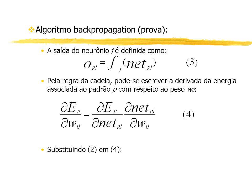 vAlgoritmo backpropagation (prova): A saída do neurônio j é definida como: Pela regra da cadeia, pode-se escrever a derivada da energia associada ao p