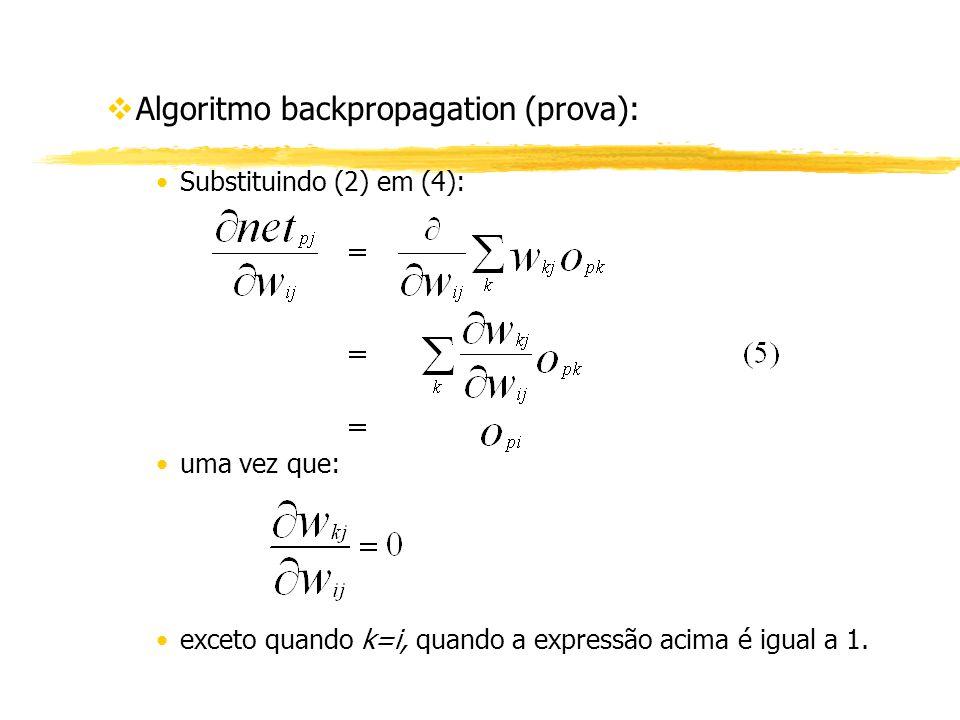 vAlgoritmo backpropagation (prova): Substituindo (2) em (4): uma vez que: exceto quando k=i, quando a expressão acima é igual a 1.