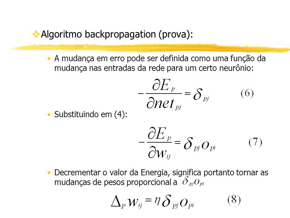 vAlgoritmo backpropagation (prova): A mudança em erro pode ser definida como uma função da mudança nas entradas da rede para um certo neurônio: Substi
