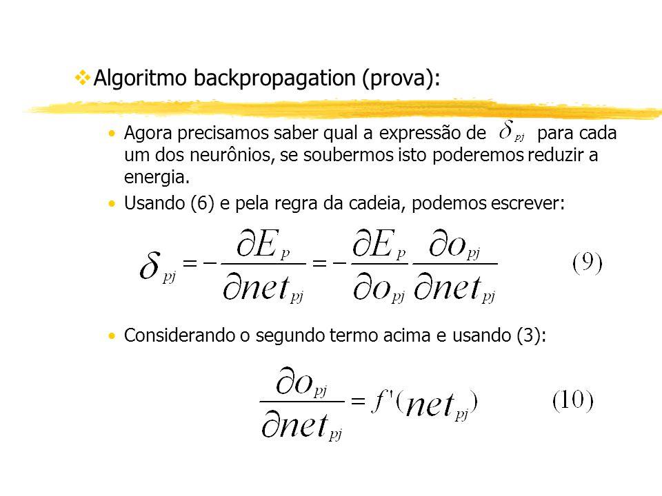 vAlgoritmo backpropagation (prova): Agora precisamos saber qual a expressão de para cada um dos neurônios, se soubermos isto poderemos reduzir a energ