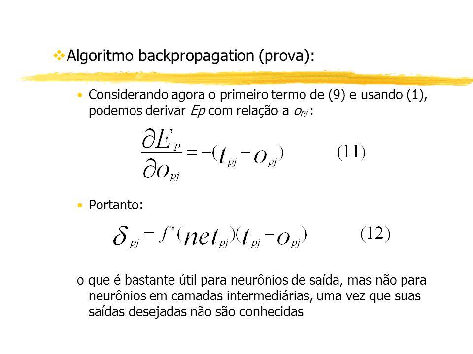 vAlgoritmo backpropagation (prova): Considerando agora o primeiro termo de (9) e usando (1), podemos derivar Ep com relação a o pj : Portanto: o que é