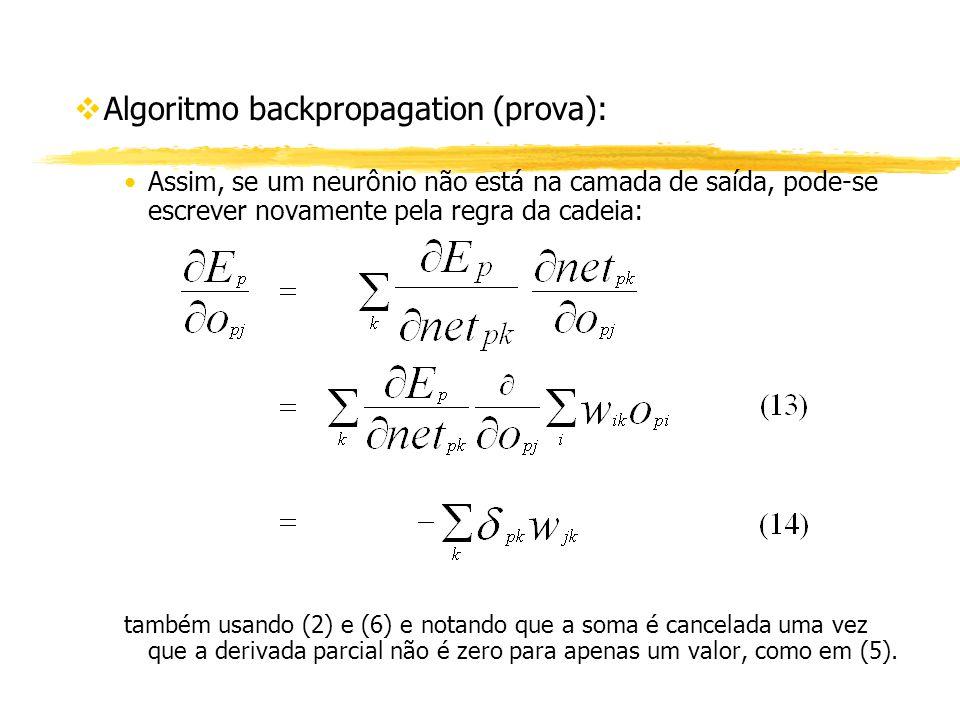vAlgoritmo backpropagation (prova): Assim, se um neurônio não está na camada de saída, pode-se escrever novamente pela regra da cadeia: também usando