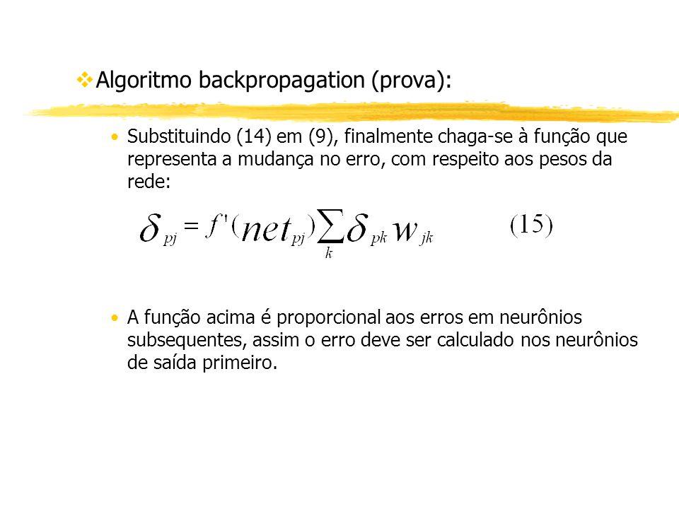 vAlgoritmo backpropagation (prova): Substituindo (14) em (9), finalmente chaga-se à função que representa a mudança no erro, com respeito aos pesos da