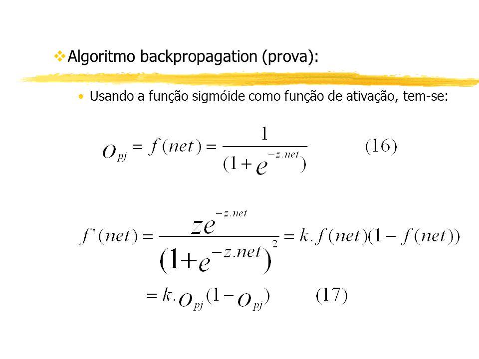 vAlgoritmo backpropagation (prova): Usando a função sigmóide como função de ativação, tem-se: