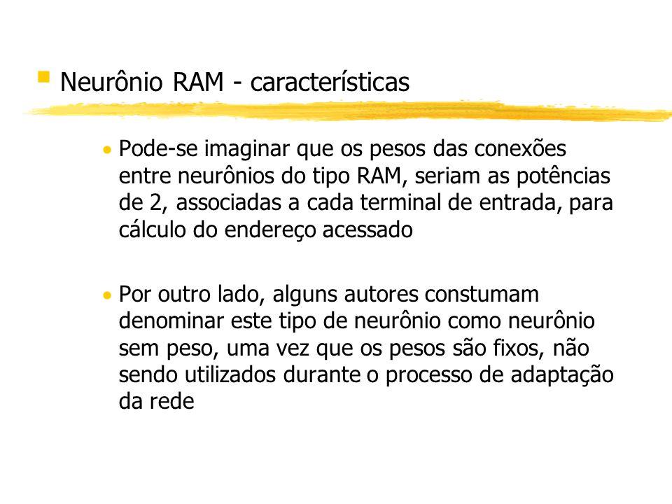 § Neurônio RAM - características Pode-se imaginar que os pesos das conexões entre neurônios do tipo RAM, seriam as potências de 2, associadas a cada t