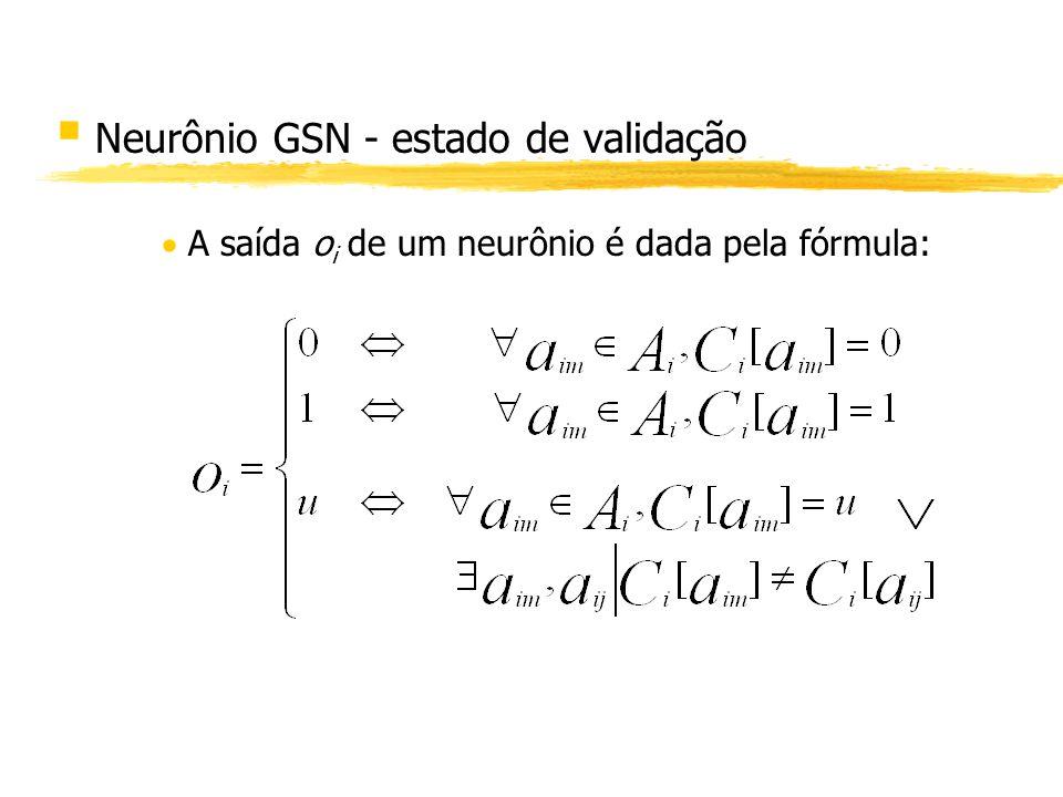§ Neurônio GSN - estado de validação A saída o i de um neurônio é dada pela fórmula: