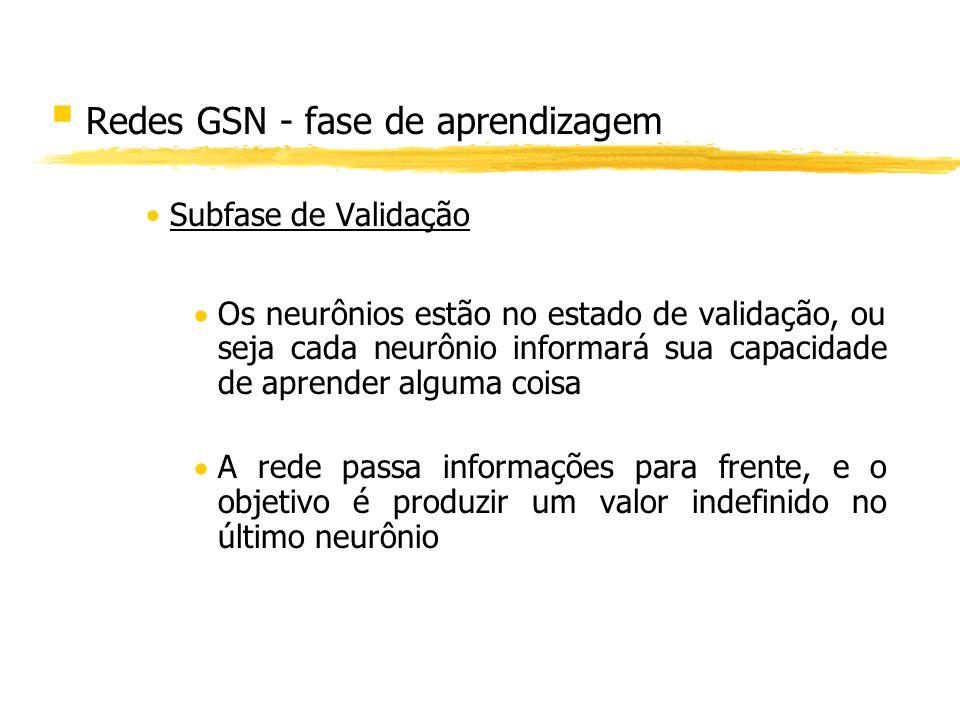 § Redes GSN - fase de aprendizagem Subfase de Validação Os neurônios estão no estado de validação, ou seja cada neurônio informará sua capacidade de a