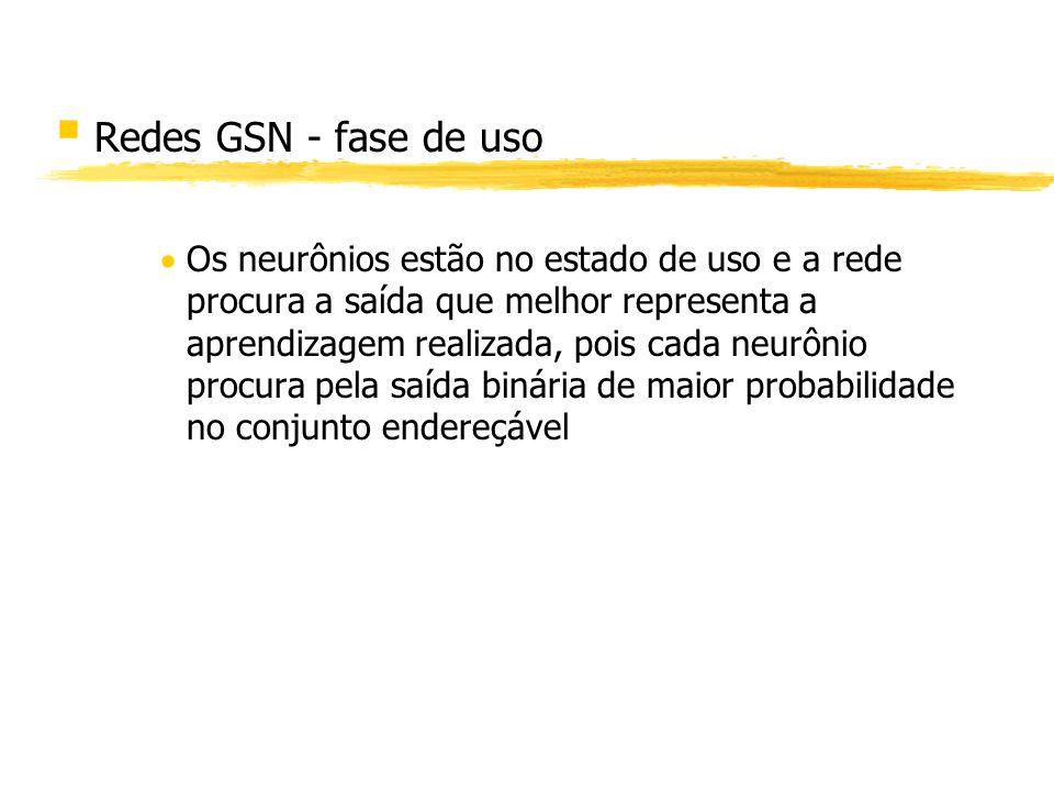 § Redes GSN - fase de uso Os neurônios estão no estado de uso e a rede procura a saída que melhor representa a aprendizagem realizada, pois cada neurô