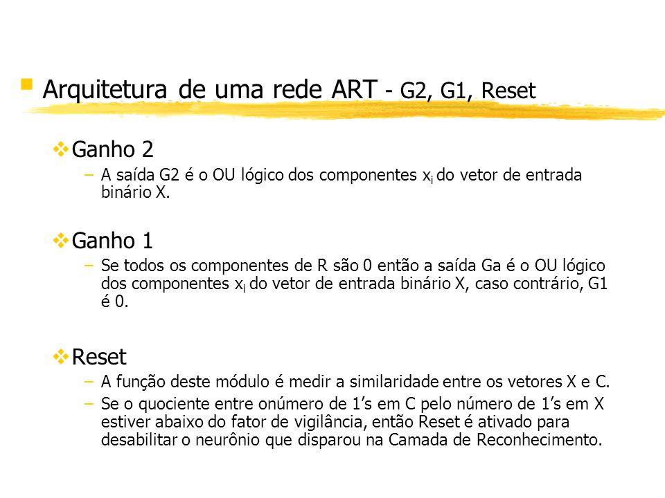 § Arquitetura de uma rede ART - G2, G1, Reset vGanho 2 –A saída G2 é o OU lógico dos componentes x i do vetor de entrada binário X. vGanho 1 –Se todos