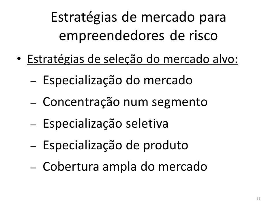 Estratégias de mercado para empreendedores de risco Estratégias de seleção do mercado alvo: – Especialização do mercado – Concentração num segmento –
