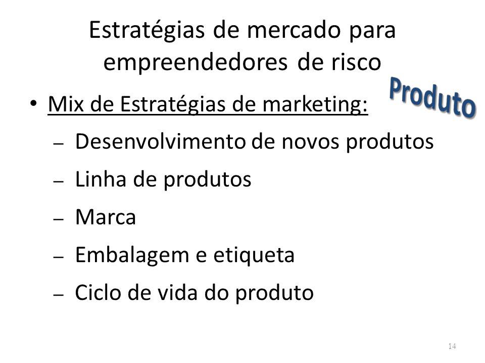 Estratégias de mercado para empreendedores de risco Mix de Estratégias de marketing: – Desenvolvimento de novos produtos – Linha de produtos – Marca –