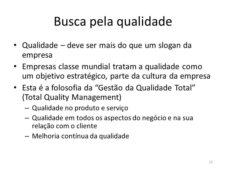 Busca pela qualidade Qualidade – deve ser mais do que um slogan da empresa Empresas classe mundial tratam a qualidade como um objetivo estratégico, pa