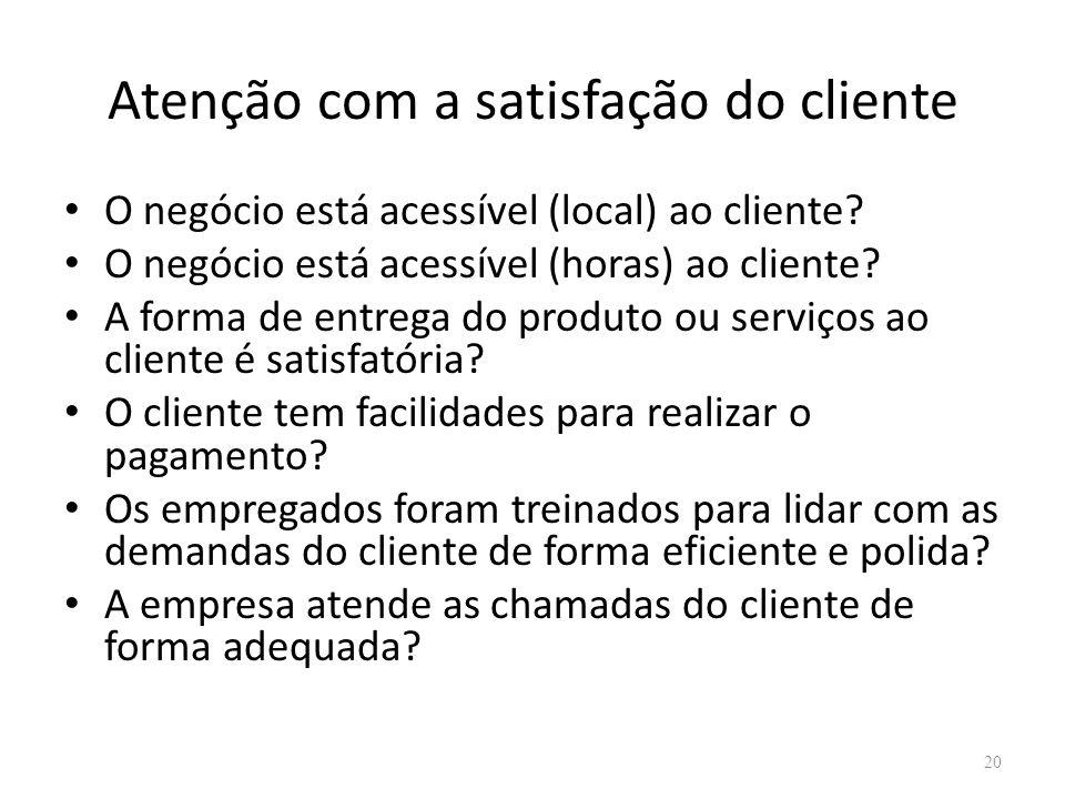 Atenção com a satisfação do cliente O negócio está acessível (local) ao cliente? O negócio está acessível (horas) ao cliente? A forma de entrega do pr