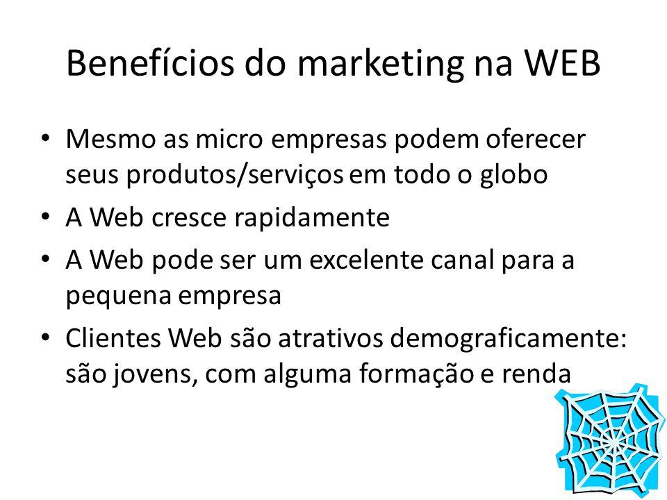 Benefícios do marketing na WEB Mesmo as micro empresas podem oferecer seus produtos/serviços em todo o globo A Web cresce rapidamente A Web pode ser u