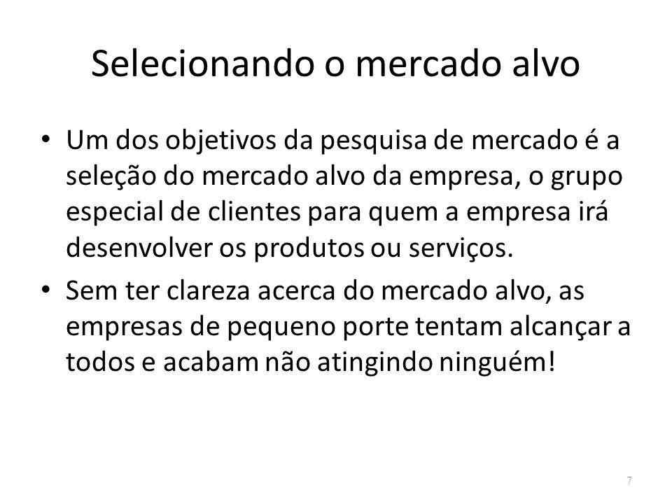 Selecionando o mercado alvo Um dos objetivos da pesquisa de mercado é a seleção do mercado alvo da empresa, o grupo especial de clientes para quem a e