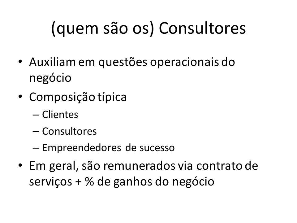 (quem são os) Consultores Auxiliam em questões operacionais do negócio Composição típica – Clientes – Consultores – Empreendedores de sucesso Em geral, são remunerados via contrato de serviços + % de ganhos do negócio