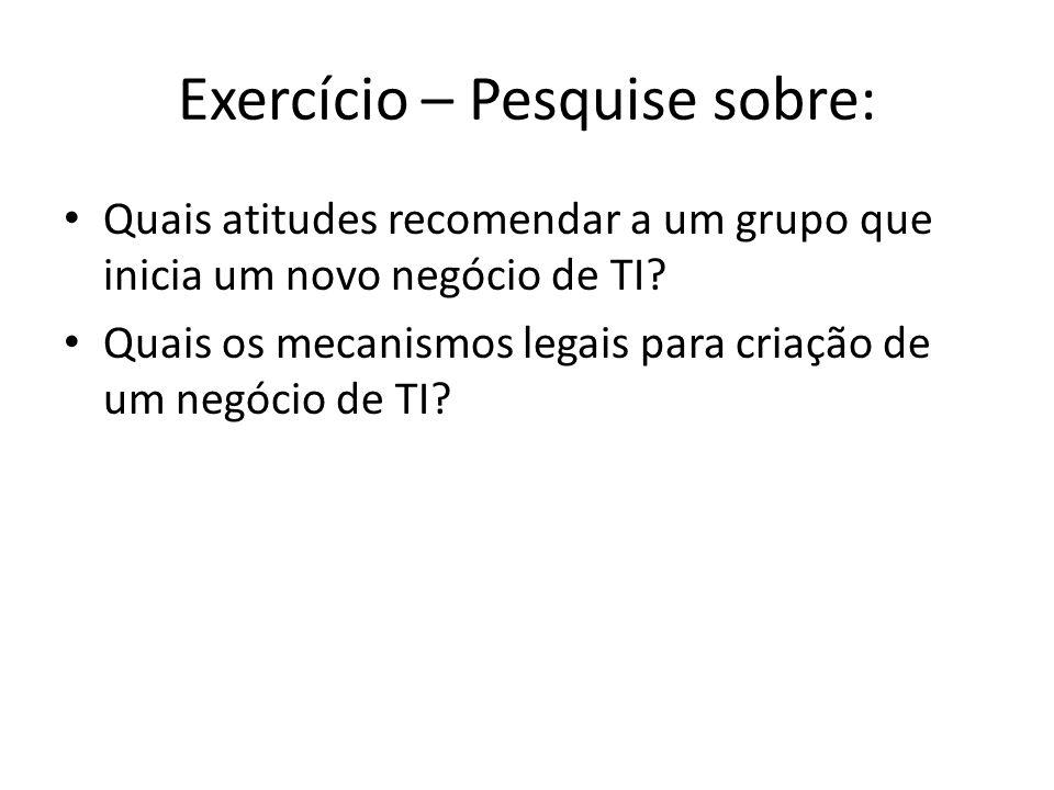 Exercício – Pesquise sobre: Quais atitudes recomendar a um grupo que inicia um novo negócio de TI.