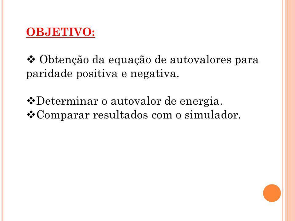 OBJETIVO: Obtenção da equação de autovalores para paridade positiva e negativa. Determinar o autovalor de energia. Comparar resultados com o simulador