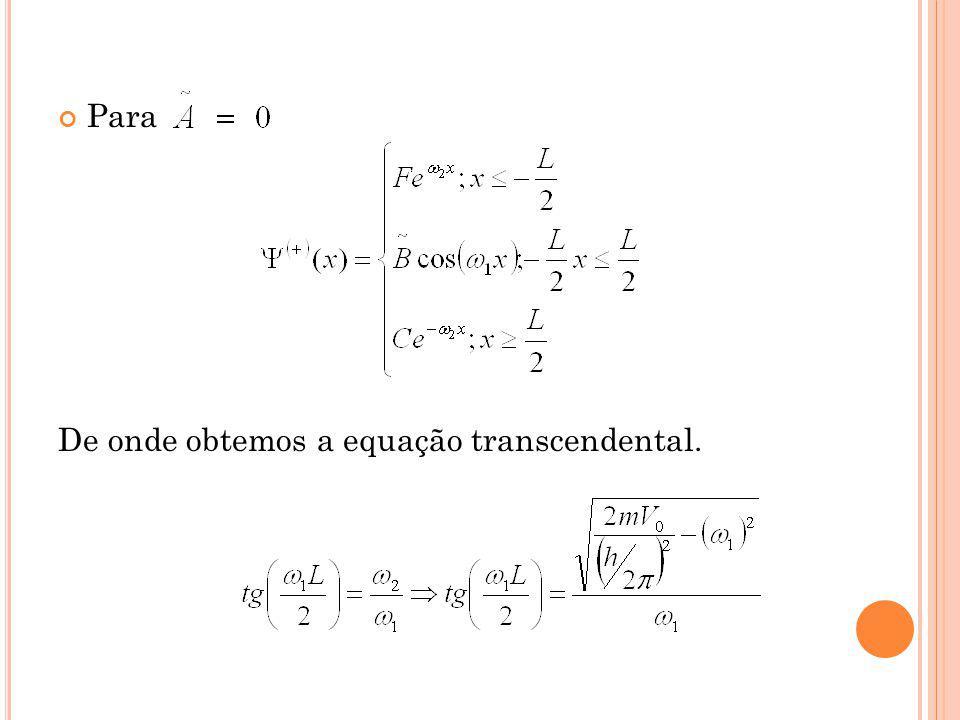Para De onde obtemos a equação transcendental.