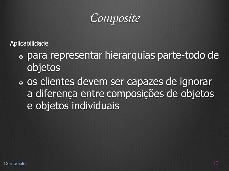 17 Composite Composite Aplicabilidade para representar hierarquias parte-todo de objetos para representar hierarquias parte-todo de objetos os cliente