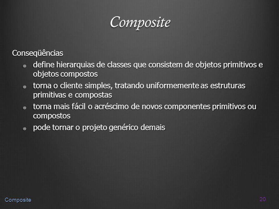 20 Composite Composite Conseqüências define hierarquias de classes que consistem de objetos primitivos e objetos compostos define hierarquias de class