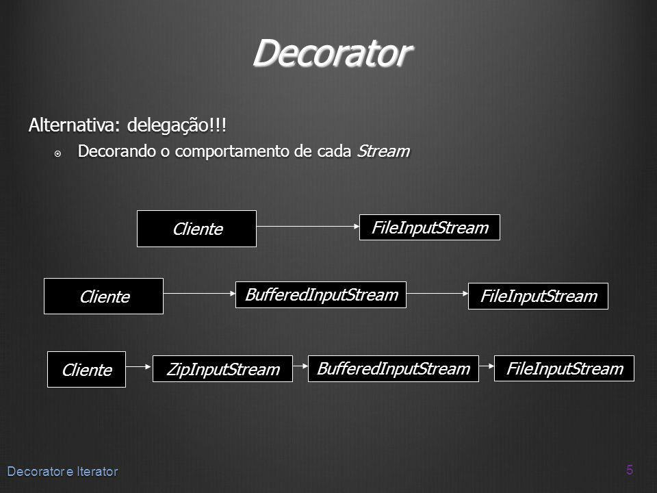 Decorator Alternativa: delegação!!! Decorando o comportamento de cada Stream Decorando o comportamento de cada Stream 5 Decorator e Iterator Cliente F