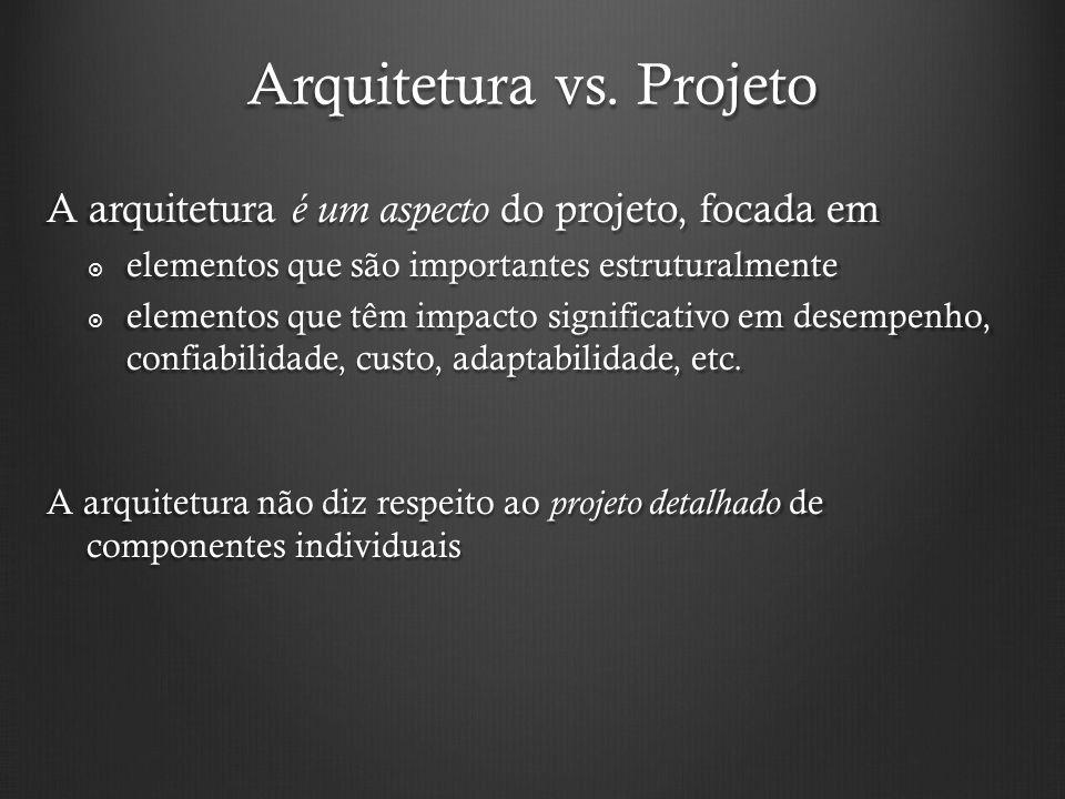 Arquitetura vs. Projeto A arquitetura é um aspecto do projeto, focada em elementos que são importantes estruturalmente elementos que são importantes e