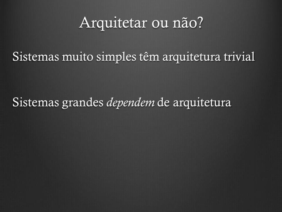 Arquitetar ou não? Sistemas muito simples têm arquitetura trivial Sistemas grandes dependem de arquitetura