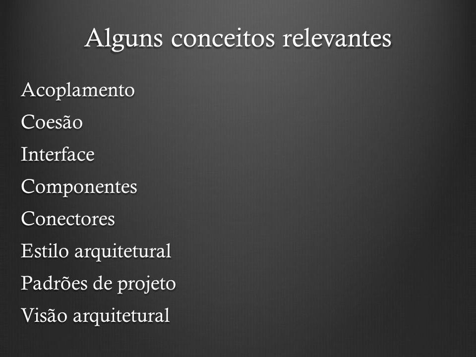 Alguns conceitos relevantes AcoplamentoCoesãoInterfaceComponentesConectores Estilo arquitetural Padrões de projeto Visão arquitetural