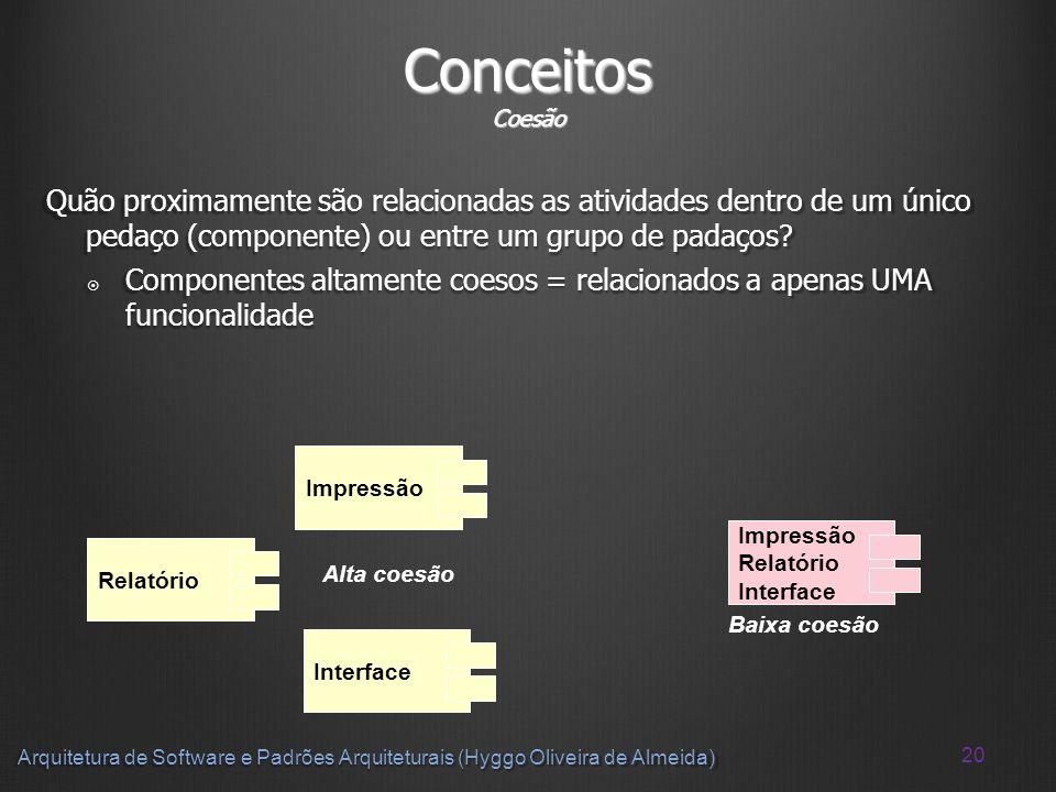 20 Arquitetura de Software e Padrões Arquiteturais (Hyggo Oliveira de Almeida) Conceitos Coesão Quão proximamente são relacionadas as atividades dentr