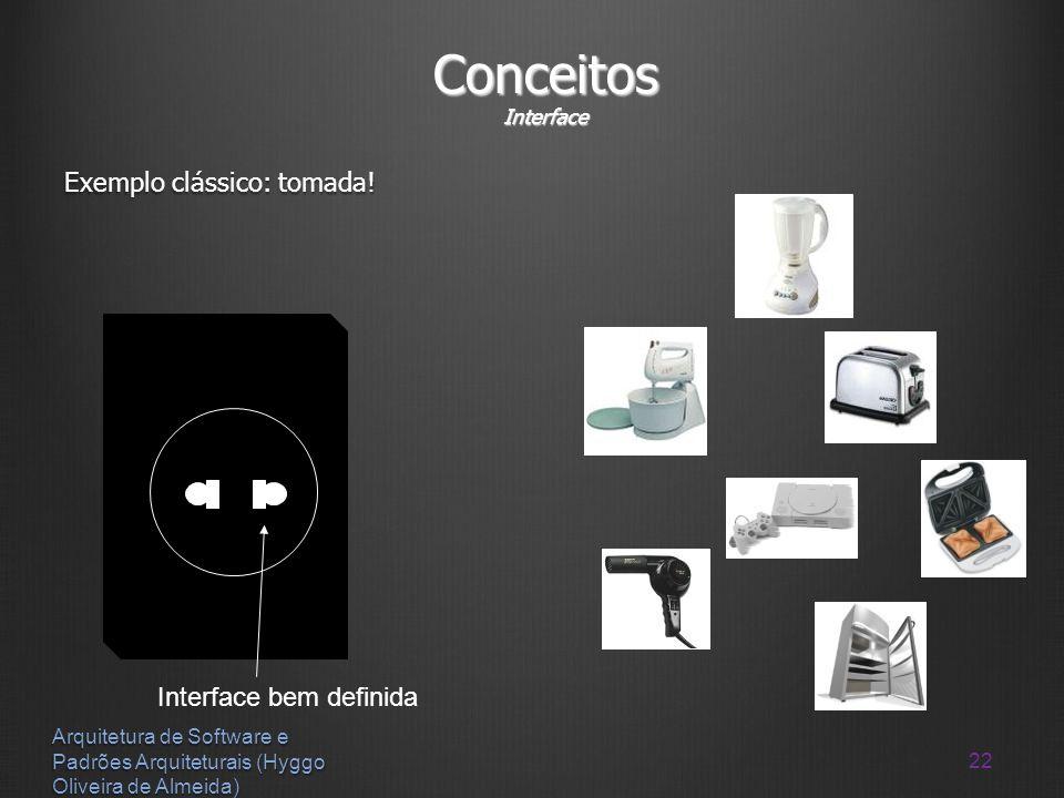 22 Arquitetura de Software e Padrões Arquiteturais (Hyggo Oliveira de Almeida) Conceitos Interface Exemplo clássico: tomada! Interface bem definida