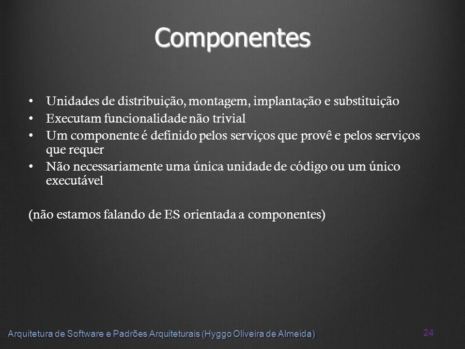 24 Arquitetura de Software e Padrões Arquiteturais (Hyggo Oliveira de Almeida) Componentes Unidades de distribuição, montagem, implantação e substitui