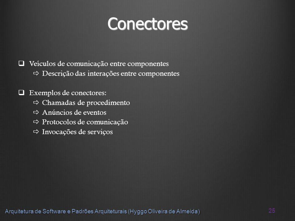 25 Arquitetura de Software e Padrões Arquiteturais (Hyggo Oliveira de Almeida) Conectores Veículos de comunicação entre componentes Descrição das inte
