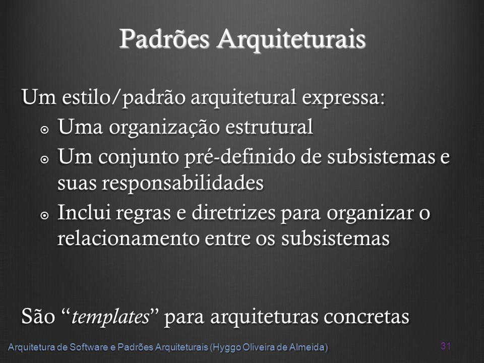 31 Arquitetura de Software e Padrões Arquiteturais (Hyggo Oliveira de Almeida) Padrões Arquiteturais Um estilo/padrão arquitetural expressa: Uma organ