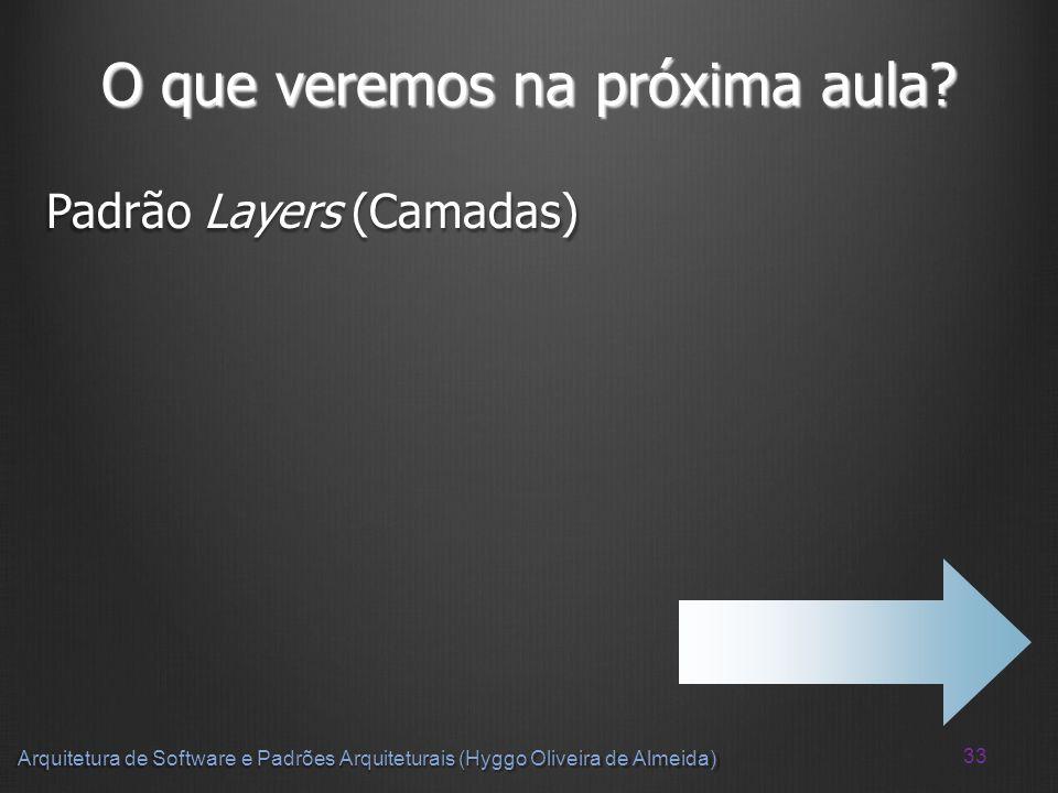 33 Arquitetura de Software e Padrões Arquiteturais (Hyggo Oliveira de Almeida) O que veremos na próxima aula? Padrão Layers (Camadas)