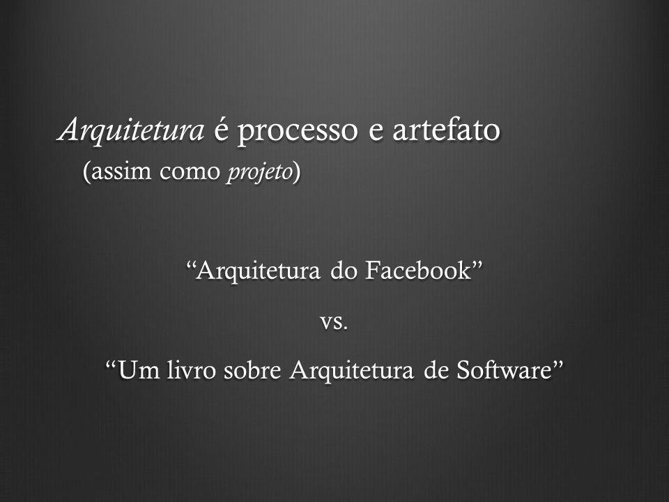 Arquitetura é processo e artefato (assim como projeto ) Arquitetura do Facebook vs. Um livro sobre Arquitetura de Software
