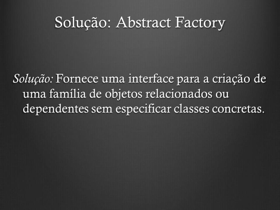 Solução: Abstract Factory Solução: Fornece uma interface para a criação de uma família de objetos relacionados ou dependentes sem especificar classes