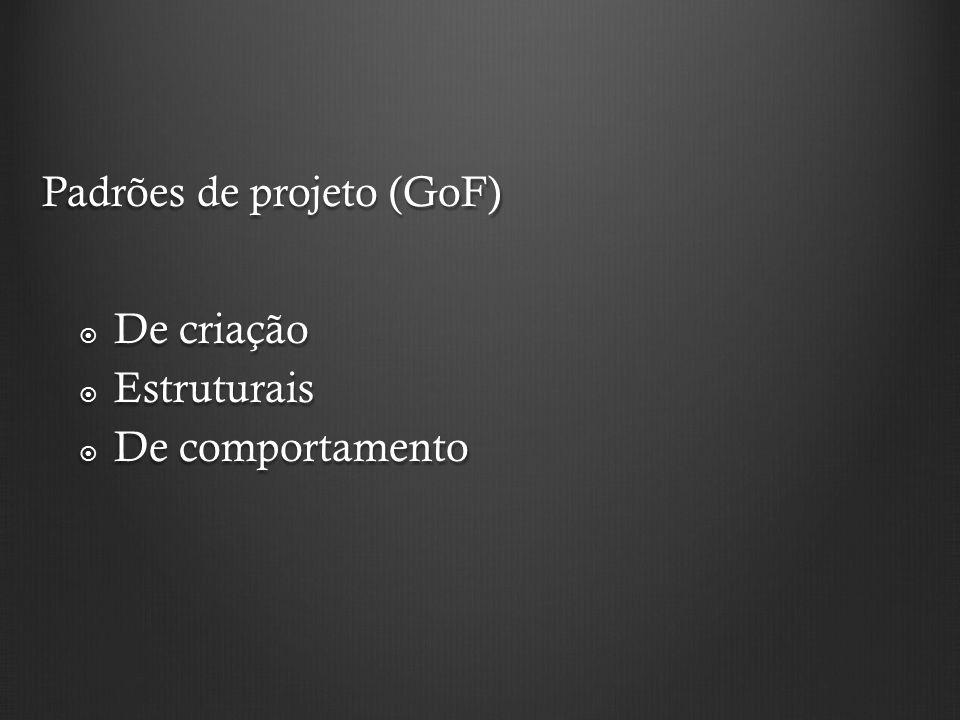 Padrões de projeto (GoF) De criação De criação Estruturais Estruturais De comportamento De comportamento