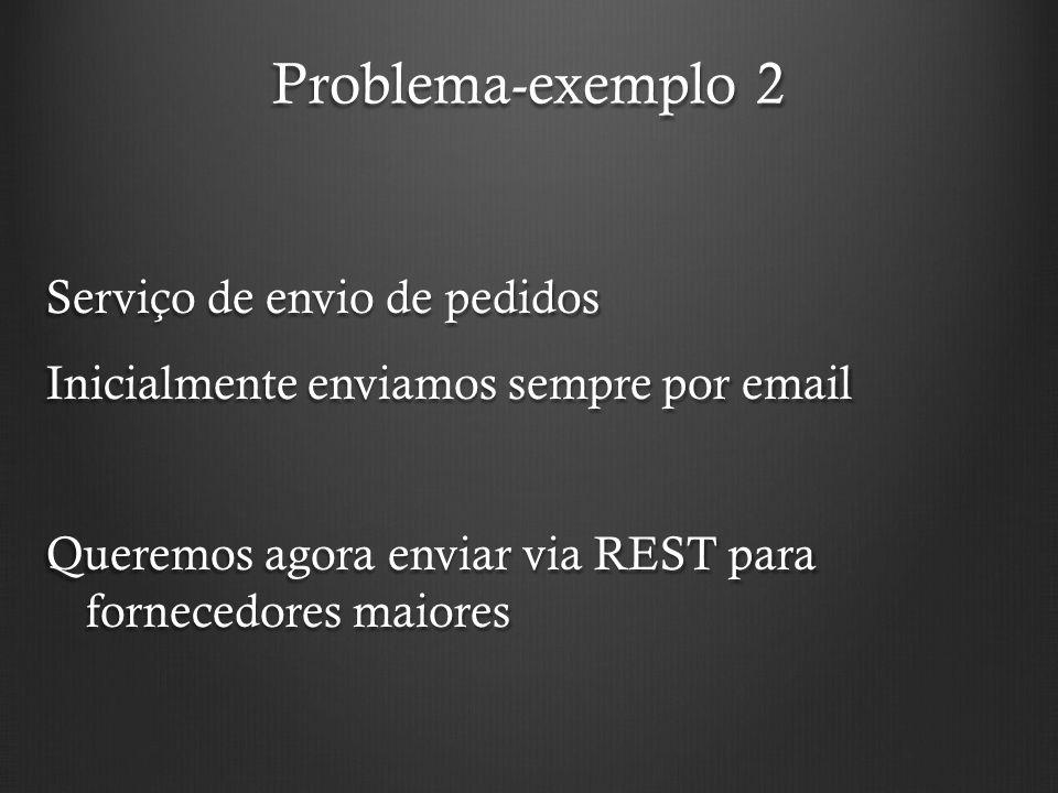 Problema-exemplo 2 Serviço de envio de pedidos Inicialmente enviamos sempre por email Queremos agora enviar via REST para fornecedores maiores