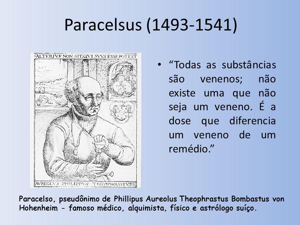 Paracelsus (1493-1541) Todas as substâncias são venenos; não existe uma que não seja um veneno.