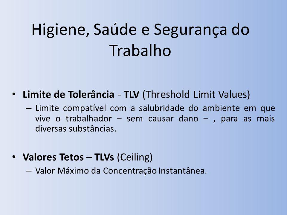 Higiene, Saúde e Segurança do Trabalho Limite de Tolerância - TLV (Threshold Limit Values) – Limite compatível com a salubridade do ambiente em que vive o trabalhador – sem causar dano –, para as mais diversas substâncias.