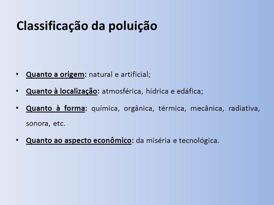 Classificação da poluição Quanto a origem: natural e artificial; Quanto à localização: atmosférica, hídrica e edáfica; Quanto à forma: química, orgânica, térmica, mecânica, radiativa, sonora, etc.