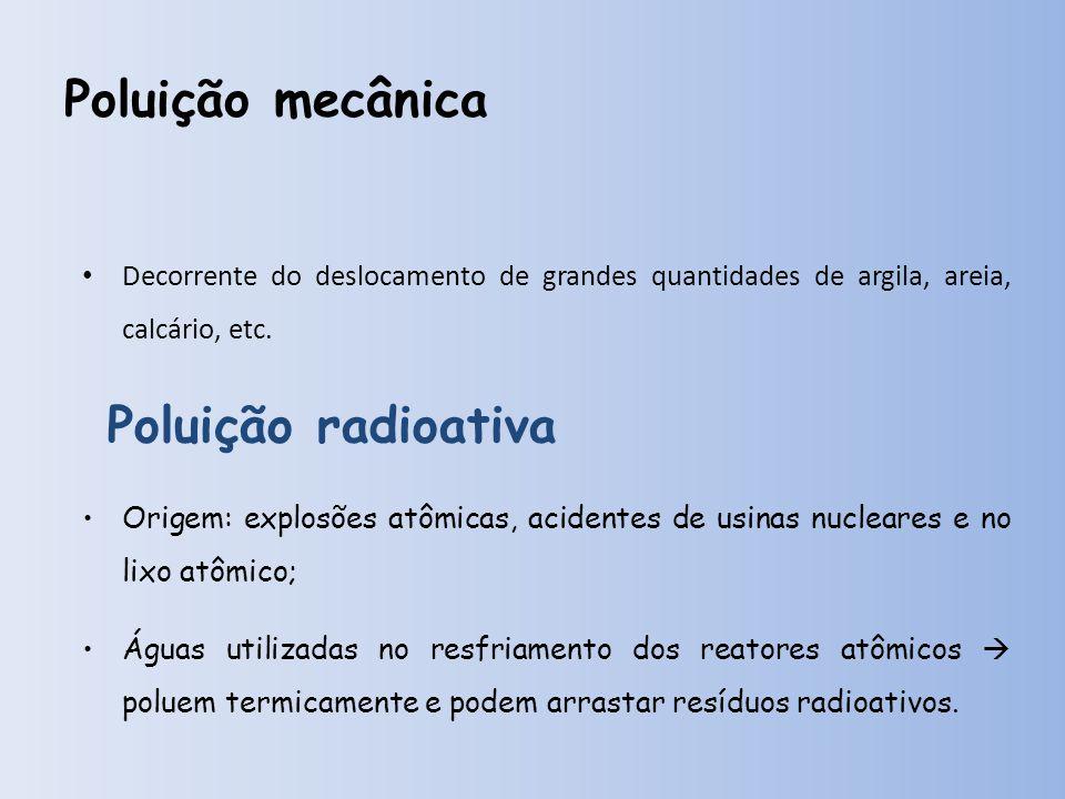 Poluição mecânica Decorrente do deslocamento de grandes quantidades de argila, areia, calcário, etc.
